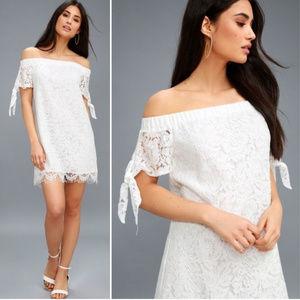 Lulus white lace off shoulder shift dress M